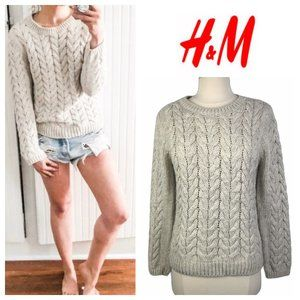 H&M Beige Wool Chunky Cableknit Crewneck Sweater